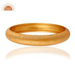 Yellow Gold Plated Plain Silver Bangle