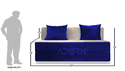 Adorn India Easy 3 Seater Sofa Cumbed ( Blue & Gold)