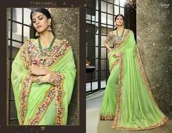 Fancy Green  Plain Desginer Saree