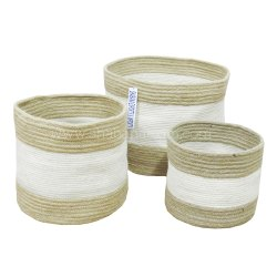 Large Cotton Baskets Handmade Woven Cotton Storage Basket Set