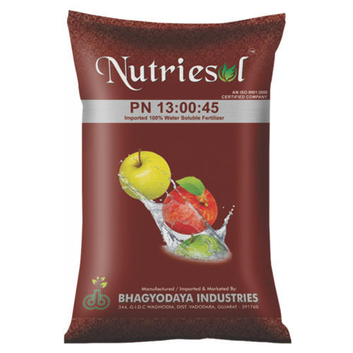 NPK 13-00-45 Water Soluble Fertilizers For Agricultural, Packaging Type: Metallic And HDPE Bag