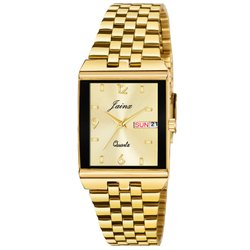 Jainx Square Golden Day And Date Functioning Analog Watch For Men's - JM1140