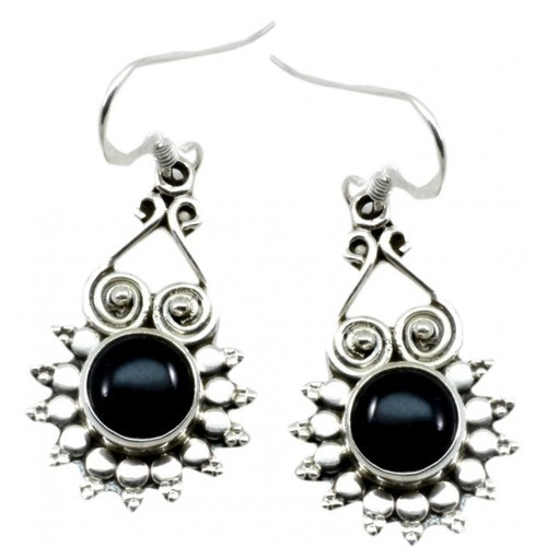 925 Sterling Silver Black Onyx High End Furnished Earrings