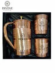 Brown Luxury Copper Jug 2 Glass Gift Set