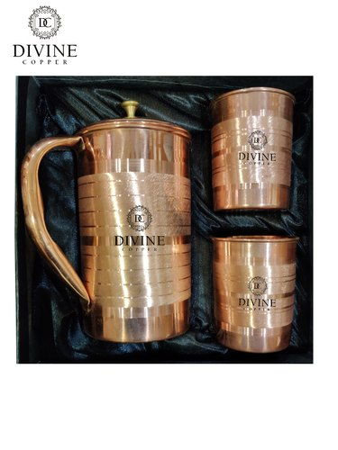Brown Luxury Copper Jug 2 Glass Gift Set