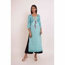 Casual Wear Straight Cotton Kurti with Palazzo
