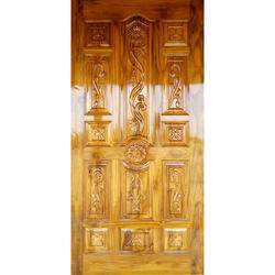 Natural and Walnut Antique Polished Wooden Door