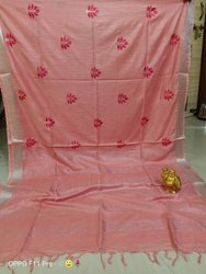 Linen Thread Embroidery Work Saree
