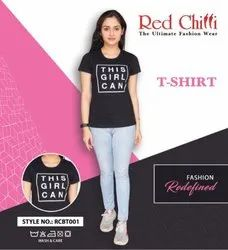 Round Red Chilli Black T-Shirt For Women