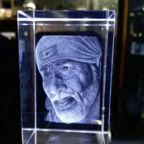 Transparent 3d Crystal Sai Baba