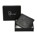 Capricon Zodiac Sign Embossed Black Mens Leather Wallet