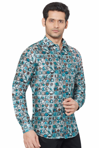 46e4428f2b870 Light Sky Blue Party Wear Dennis Morton Printed Partywear Art Silk Shirt -  PRARS 04