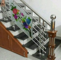 Stainless Steel, Glass Stairs SS Handrails With Glass