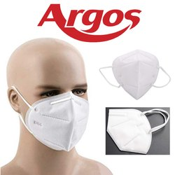Argos High Filtration Capacity 5 Layered FFP2 Medical Mask, CE Approved, N 95 Medical Mask - White