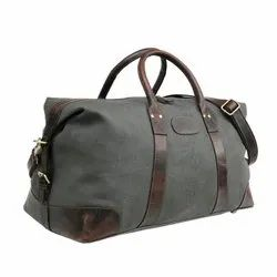 Zipper Waxed Canvas With Leather Gym Travel Shoulder Duffle Unisex Bag, Size/Dimension: Lxwxh: 24x10x10 Inches