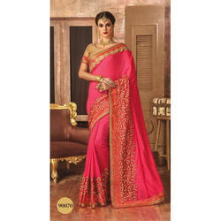 Georgette (Saree) Printed Party Wear Saree, Packaging Type: Box, 6.3 m (with blouse piece)