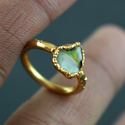 Natural Fire Opal Small Gemstone Gold Plated Ring