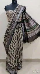 Block Printed linen saree