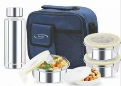 Rema - Stainless Steel Lunch Box Set with 3 Steel Containers 1 Steel Bottle 1 Plastic Container