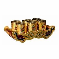Stainless Steel Meenakari Serving Tray with Glass