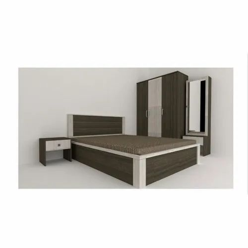 Brown,White Teak Wood Modern Wooden Double Bed, Size: 53 x 74""