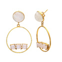 Blue Chalcedony & Moonstone Adjustable 925 Sterling Silver Gold Plated Handmade Earring
