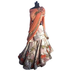 Wedding Wear Silk Ladies Indo Western Lehenga