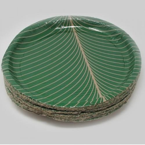 Green Plain Banana Leaf Paper Plate : paper plate moon - pezcame.com