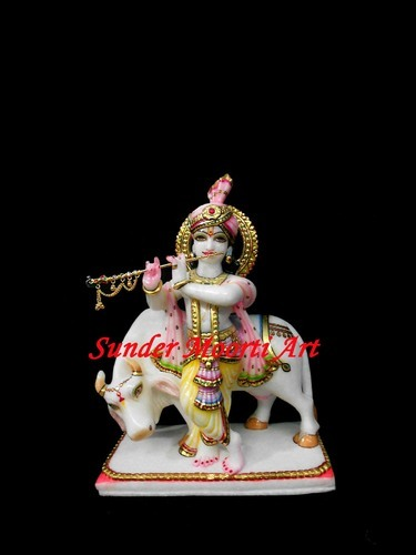 Multicolor Hindu God Marble Krishna Statue With Cow | ID