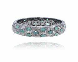Emerald Gemstone Silver Bangle