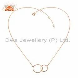 Rose Gold Plated Connected Circle Design Silver Necklace