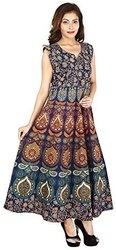 Cotton Rajasthani Print Maxi Dress