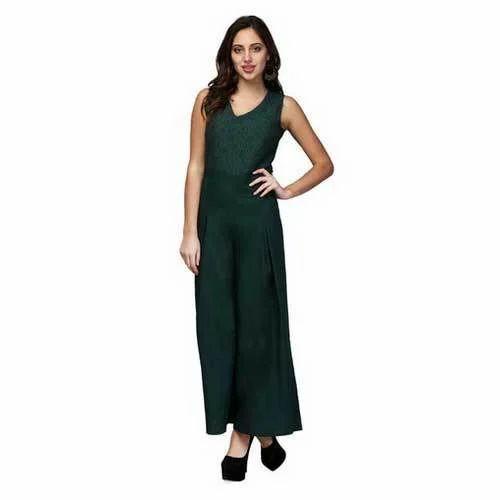 Women Emerald Green Lace Jumpsuit