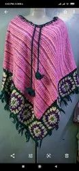 Multy Color Big Down Flower Poncho