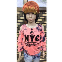 Girl's Full Sleeves Pink Top, Size: S & M