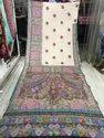 Kalamkari Pashmina Hand Embroidery Sarees, Length: 6.3 m with Blouse Piece