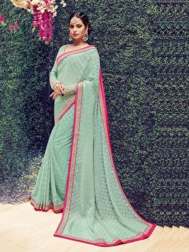 d1688f5915 Brasso Amazing Light Green Brasso Embroidered Work Designer Party Wear Saree