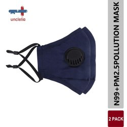 uncleia Navy Blue N99 PM 2.5 POLLUTION MASK, Number of Layers: 10