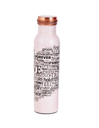 White  Meena Print Copper Bottle