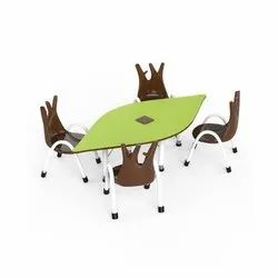 Brown And Green OK Play Leaf Table and Trunk Chair