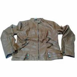 Full Sleeve Plain Ladies Brown Leather Jacket, Size: S-XXL