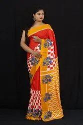 Beautiful Semi Hand Loom Linen Chanderi Saree