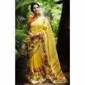 Yellow Printed Linen Saree