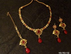 Ruby Green Long Necklace Set