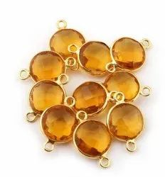 Checker Cut Citrine Quartz Round Bezel Set Gemstone Connector