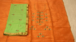 Peach Embroidered Punjabi Suit