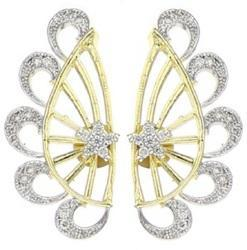 American Diamond Gold Plated Earcuff Butter Fly Style
