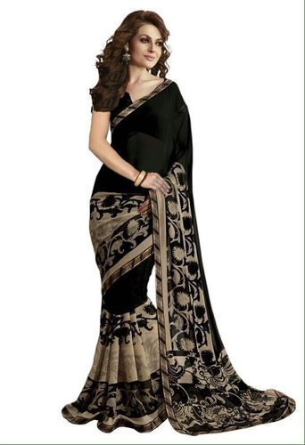 1d474571ed Georgette Black Printed Saree With Blouse Piece, Rs 230 /piece | ID ...