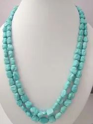 Good Quality Natural Arizona Turquoise Smooth Unusual Oval Fancy Shape 2 Strand Necklace