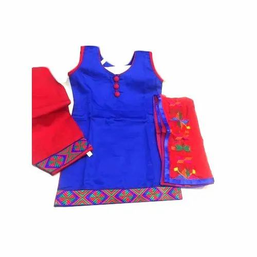 Cotton Party Wear Sleeve Less Kids Punjabi Suit